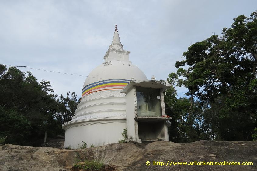 Dagoba at the entrance of the Kudumbigala Monanstry